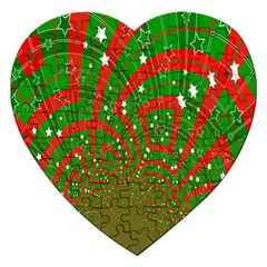 Background Abstract Christmas Pattern Jigsaw Puzzle (Heart)