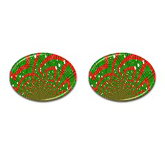 Background Abstract Christmas Pattern Cufflinks (Oval)