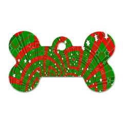 Background Abstract Christmas Pattern Dog Tag Bone (One Side)