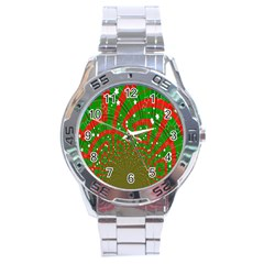 Background Abstract Christmas Pattern Stainless Steel Analogue Watch