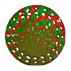 Background Abstract Christmas Pattern Round Filigree Ornament (two Sides)