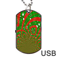 Background Abstract Christmas Pattern Dog Tag USB Flash (One Side)