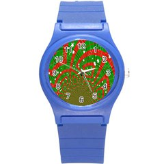 Background Abstract Christmas Pattern Round Plastic Sport Watch (S)