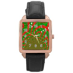 Background Abstract Christmas Pattern Rose Gold Leather Watch
