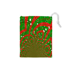 Background Abstract Christmas Pattern Drawstring Pouches (Small)
