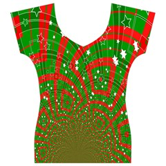 Background Abstract Christmas Pattern Women s V-Neck Cap Sleeve Top