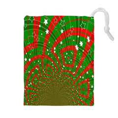 Background Abstract Christmas Pattern Drawstring Pouches (Extra Large)