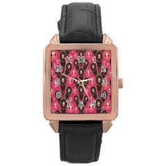 Background Abstract Pattern Rose Gold Leather Watch