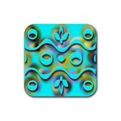 Background Braid Fantasy Blue Rubber Coaster (square)