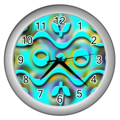 Background Braid Fantasy Blue Wall Clocks (Silver)