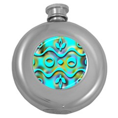 Background Braid Fantasy Blue Round Hip Flask (5 oz)