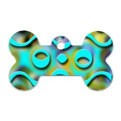 Background Braid Fantasy Blue Dog Tag Bone (Two Sides)