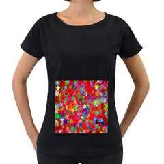 Background Celebration Christmas Women s Loose-Fit T-Shirt (Black)