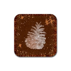 Background Christmas Tree Christmas Rubber Square Coaster (4 pack)