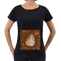 Background Christmas Tree Christmas Women s Loose-Fit T-Shirt (Black)
