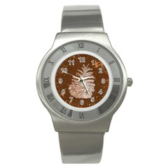 Background Christmas Tree Christmas Stainless Steel Watch