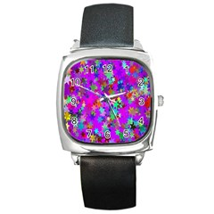Background Celebration Christmas Square Metal Watch