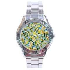 Background Backdrop Patterns Stainless Steel Analogue Watch