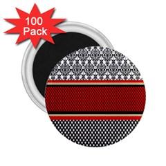 Background Damask Red Black 2 25  Magnets (100 Pack)