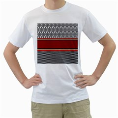 Background Damask Red Black Men s T Shirt (white) (two Sided)