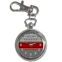 Background Damask Red Black Key Chain Watches