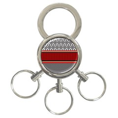 Background Damask Red Black 3 Ring Key Chains