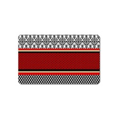 Background Damask Red Black Magnet (Name Card)