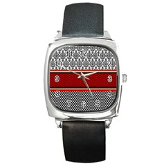 Background Damask Red Black Square Metal Watch