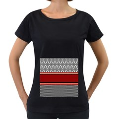 Background Damask Red Black Women s Loose-Fit T-Shirt (Black)