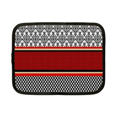 Background Damask Red Black Netbook Case (small)