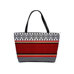 Background Damask Red Black Shoulder Handbags
