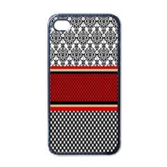 Background Damask Red Black Apple iPhone 4 Case (Black)