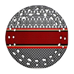 Background Damask Red Black Round Filigree Ornament (two Sides)