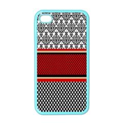 Background Damask Red Black Apple iPhone 4 Case (Color)