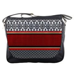 Background Damask Red Black Messenger Bags