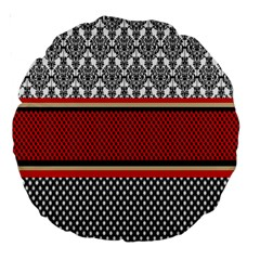 Background Damask Red Black Large 18  Premium Round Cushions