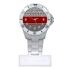 Background Damask Red Black Plastic Nurses Watch