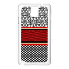 Background Damask Red Black Samsung Galaxy Note 3 N9005 Case (white)