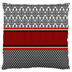 Background Damask Red Black Large Flano Cushion Case (Two Sides)