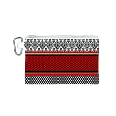 Background Damask Red Black Canvas Cosmetic Bag (S)
