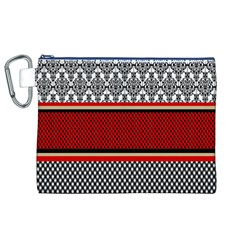 Background Damask Red Black Canvas Cosmetic Bag (XL)