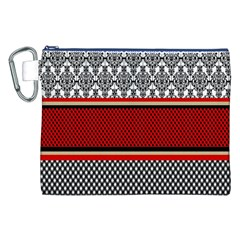 Background Damask Red Black Canvas Cosmetic Bag (XXL)