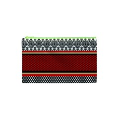 Background Damask Red Black Cosmetic Bag (XS)