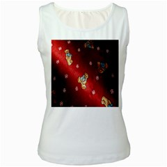 Background Fabric Women s White Tank Top