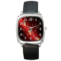 Background Fabric Square Metal Watch