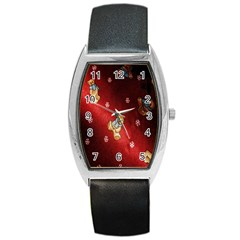 Background Fabric Barrel Style Metal Watch