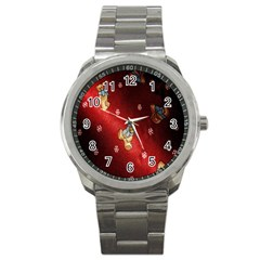 Background Fabric Sport Metal Watch