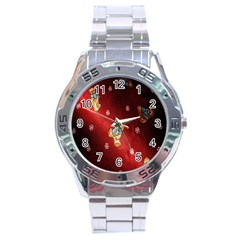 Background Fabric Stainless Steel Analogue Watch