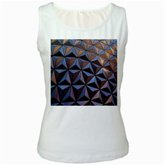Background Geometric Shapes Women s White Tank Top