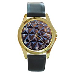 Background Geometric Shapes Round Gold Metal Watch